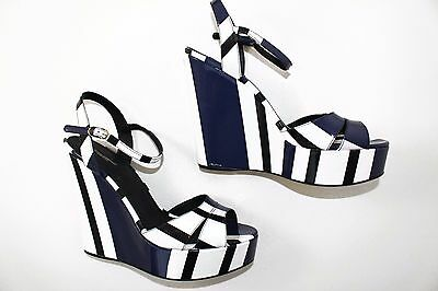 DOLCE & GABBANA BLUE AND WHITE PATENT LEATHER WEDGE SANDALS  EU 41 / US 11