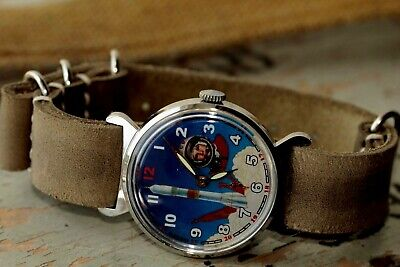 Pobeda ZIM Wrist Watch Mechanical Space 'Yur 'Yuri Gagarin' Blue dial USSR  for sale  Shipping to United States