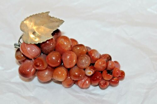 Vintage Grape Cluster Mid Century Gem Polished Stone With Silver Leaf Peach Tone