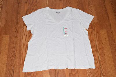 New Womens EDDIE BAUER Short Sleeve Heathered White V-Neck Shirt Size L Large