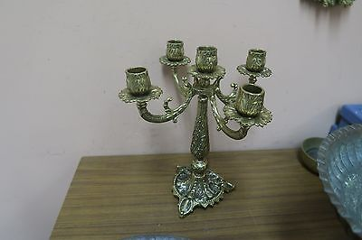 Vintage 5 Arm TAMAR Israel Judaica Menorah Ornate Brass Candle Holder 11.5""