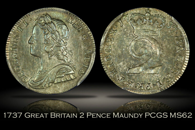 1737 Great Britain Maundy 2 Pence PCGS MS62 George II Pretty Color Toning 2D