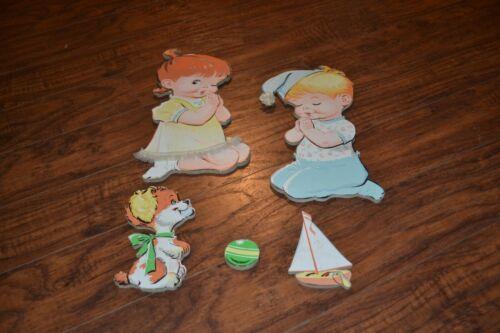 J13- Vintage Praying Boy Girl Sailboat Dog Ball Cardboard Wall Plaques