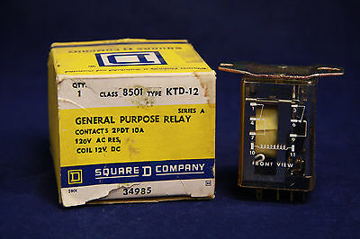 Square D 8501 KTD-12 General Purpose Relay 2PDT 10A 120V 8501KTD12 12V Coil