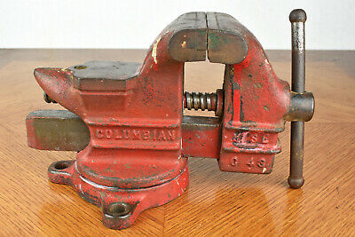 Red Columbian Swivel Bench Vise Model C43 Cleveland Ohio Usa 13 Lb 3 Jaw