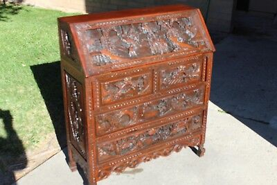 Antique Asian hand carved Mahogany Secretary (77 yrs old)