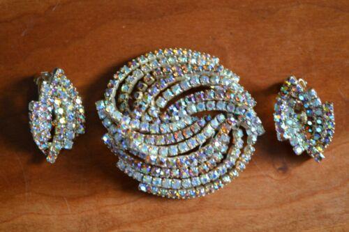 Fabulous vintage dimensional ab rhinestone brooch & clip earring set demi 1950s