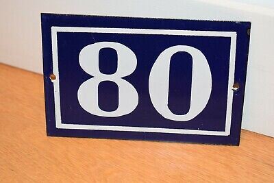 Vintage French Enamel Metal House Sign Number 80 - See Photos