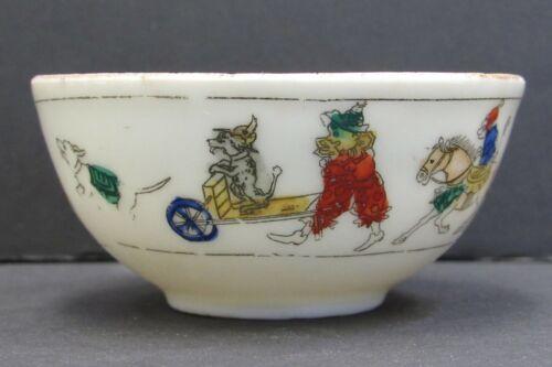 Antique Porcelain Child Cup Circus Clowns Monkeys Dogs Japan