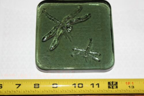 """Green Glass Art Tile Dragonfly Embossed Paper Weight Candle Holder 4.5"""" X 4.5"""""""