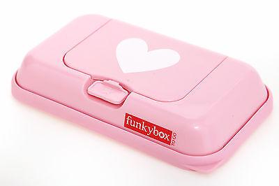 FUNKYBOX Feuchttücher Box TO GO rosa - weißes Herz