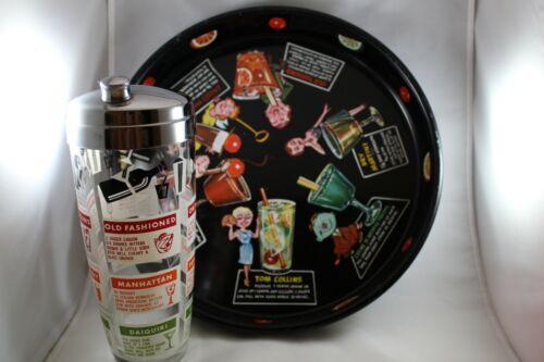 Vintage Barware set Cocktail Shaker & Black Metal Tray w Recipes Drinks 1950s