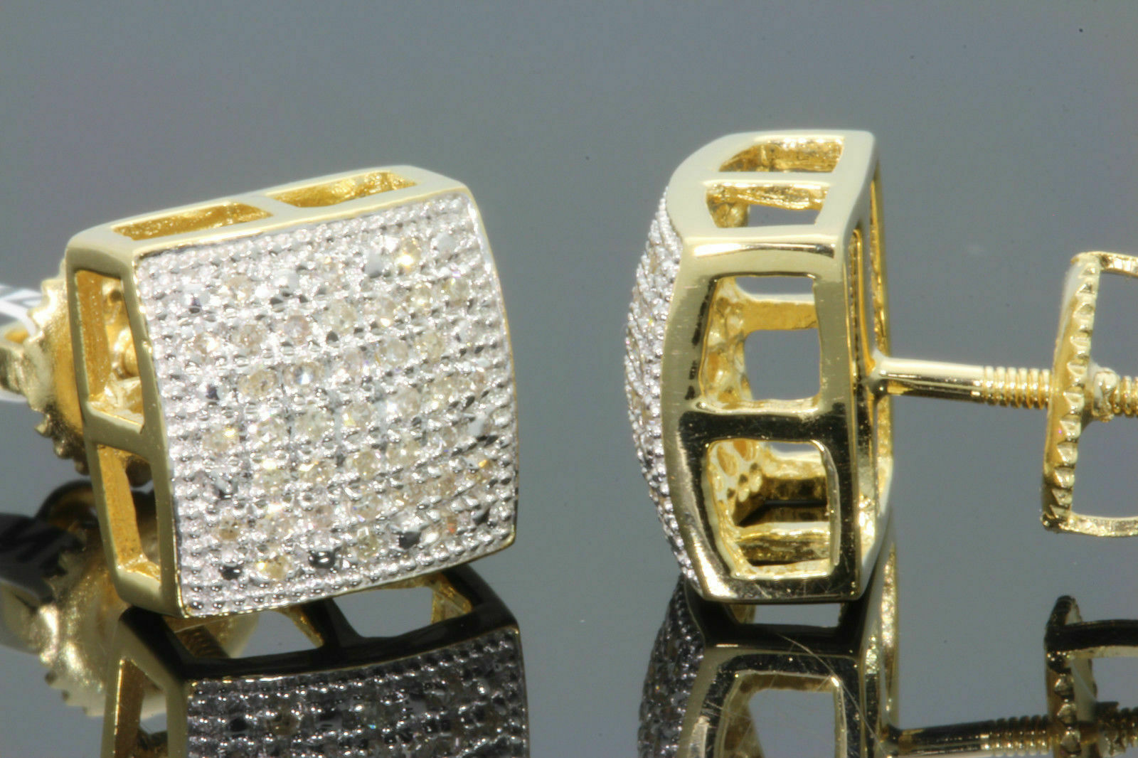 .19 CARAT YELLOW GOLD FINISH MENS WOMENS 9mm 100% REAL DIAMONDS EARRINGS STUDS