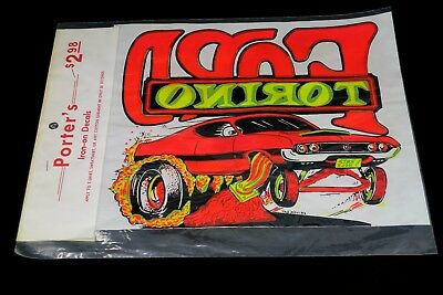 Vintage Advertising Graphic Iron On Transfer Decal T-shirt - Ford Torino
