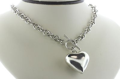 (Puffy Heart Sterling Silver 925 Round Link Toggle Necklace - 16