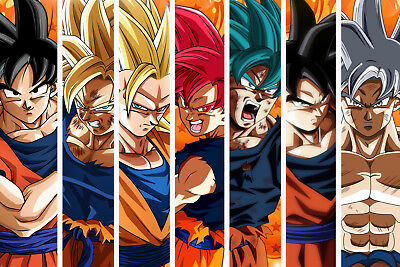 Dragon Ball Z/Super Poster Goku from Normal to Ultra Mastered 12in x 18in - Dragon Ball Z Goku