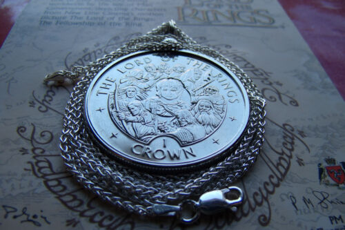 """2003 Lord of the Rings LOTR  Isle of Man Crown on a 20"""" SILVER WHEAT CHAIN"""