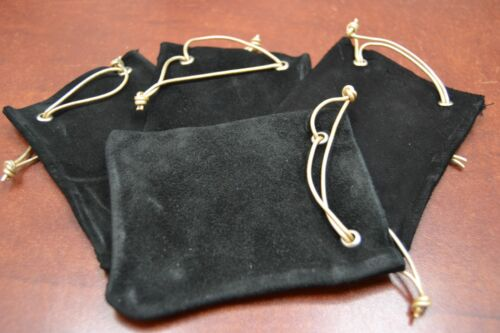 """4 PCS BLACK HANDMADE DRAWSTRING LEATHER JEWELRY GIFT POUCHES BAGS 3"""" x 4"""""""