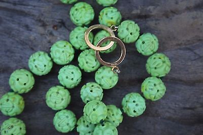 CHINESE SHOU Longevity GREEN CARVED TURQUOISE BEAD NECKLACE 78.3gm