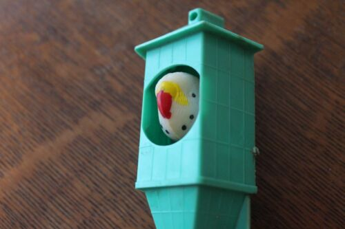 "Unusual Vintage Parakeet Plastic Bobblehead Toy 4 1/4"" Tall Bird No Reserve"