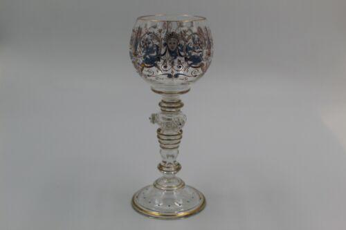 Stunning Vintage Czech Bohemian Enamel Glass Goblet Moser Hand Painted Signed