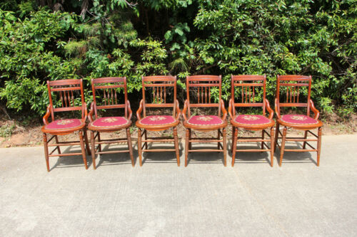 Set of Six Victorian Dining Chairs with Needlepoint Seats ~ Ca.1880