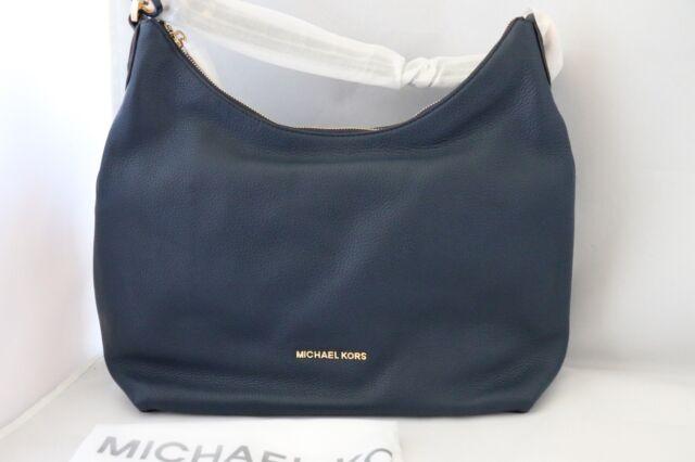 Michael Kors Isabella Large Convertible Leather Shoulder Bag Navy ...