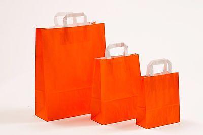 Orange Papiertüten (250 Papiertragetaschen ORANGE Papiertüten Tüten Tragetaschen Flachhenkeltaschen)