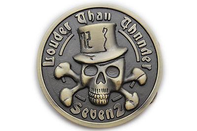 Men Women Rusty Gold Metal Belt Buckle Louder Than Thunder Skeleton Skull (Gold Pirate Belt Buckle)
