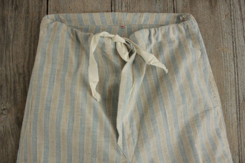 FLANNEL Vintage European Pajamas bottoms SOFT  cotton blue striped PJ