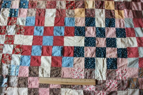 """Antique c1860-70 Hand Pieced Quilt Top With Earlier Hand Blocked Fabrics~54""""X60"""""""