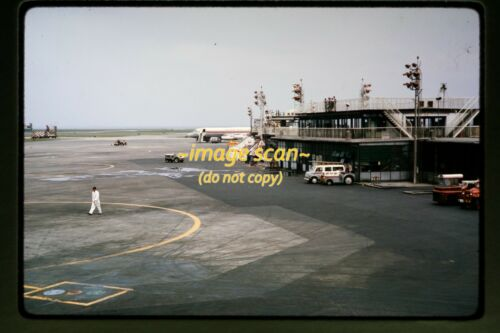 1964 Tokyo, Japan Airport Scene & JAL Airlines Aircraft, Original Slide c11a