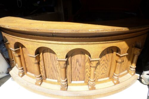 Antique Architectural salvage AMAZING OAK wrap around bar From a Church Counter