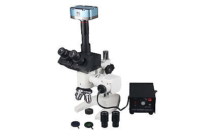 600x Trinocular Top Light Compound Microscope W 3mp Camera Measuring Software