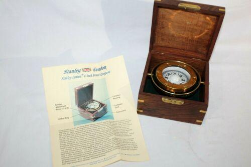 Stanley London Nautical Brass Gimbaled Compass w/ Wooden Decor Box