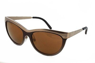 Burberry B 3076-Q Sunglasses Gold Brown Fade Frame Leather Cat Eye Brown Mirror