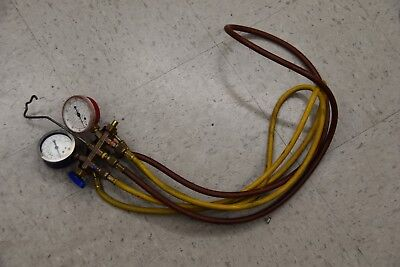Yellow Jacket - Manifold Gauges With Hoses R22 R12 R502 Hvac Tools Flutterless
