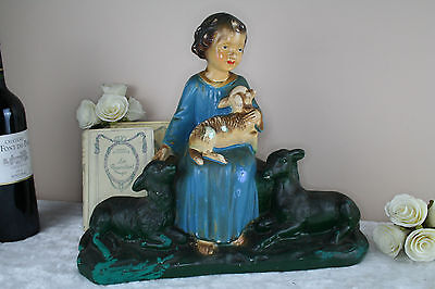 Antique French chalkware religious Lamb girl signed arnova statue sculpture