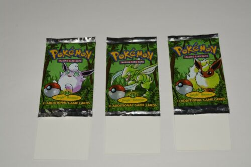 POKEMON Jungle Booster Set Packs = Lot of (3) EMPTY Wrappers Only! (No Cards) B