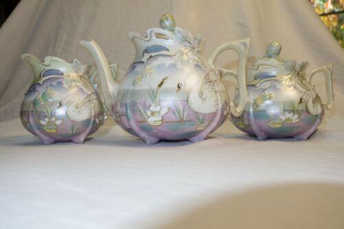 Exquisite RS Prussia Raspberry Mold Swan Tea Set
