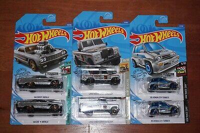 2020 Hot Wheels Walmart Exclusive Zamac 64' Impala, Land Rover Pickup, HondaCity
