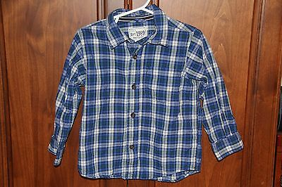Toddler Boys Childrens Place Long Sleeve Blue, White Plaid Shirt size 2t