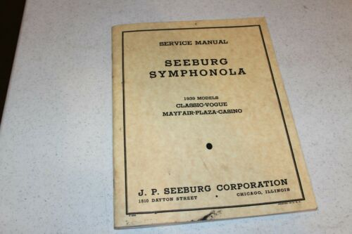 Seeburg Symphanola Service Manual for 1939 model year Jukeboxes - used