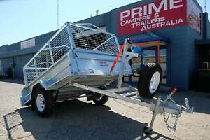 Prime 8x5ft Braked Trailer w/Canvas Cover, FREE WINCH & 600mm Cage Wingfield Port Adelaide Area Preview