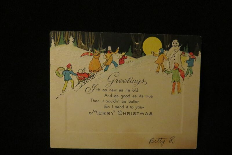 Vintage Art Deco Victorian Family Snowman & Full Moon Christmas Card 1920S
