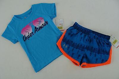 Under Armour Blue Sunglasses Top Shirt Shorts Girls Size 2T Running Sports NWT (Top Sunglasses For Running)