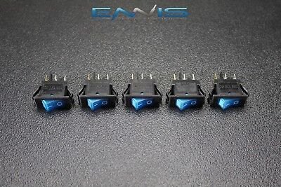 5 Pcs Rocker Switch On Off Mini Toggle Blue Led 12v 16 Amp Mount Hole Ec-1220bl