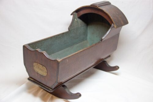 Early Vintage Antique Wooden Baby Infant Cradle Rocker Doll Bed Brass Tag A Dean