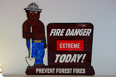 "SMOKEY THE BEAR STEEL ENAMEL EXTREME FIRE DANGER TODAY SIGN. LARGE 28"" BY 28"""