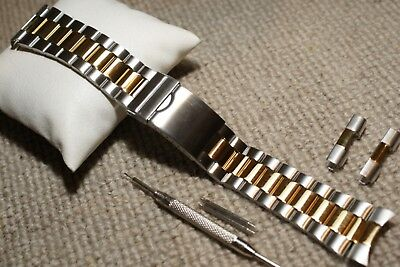 Center Straight Bar (Stainless Steel 2T Centre Fold Watch Strap 22-26mm Straight +Curved Bar & Tool)